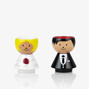Lucie Kaas bride and groom egg cup handpainted and made from beech wood