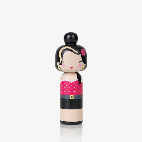 Sketch Inc for Lucie Kaas painted Kokeshi doll as Amy Winehouse