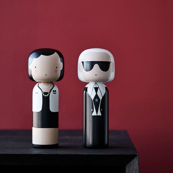 Sketch Inc. Lucie Kaas modern wooden kokeshi doll as Coco Chanel