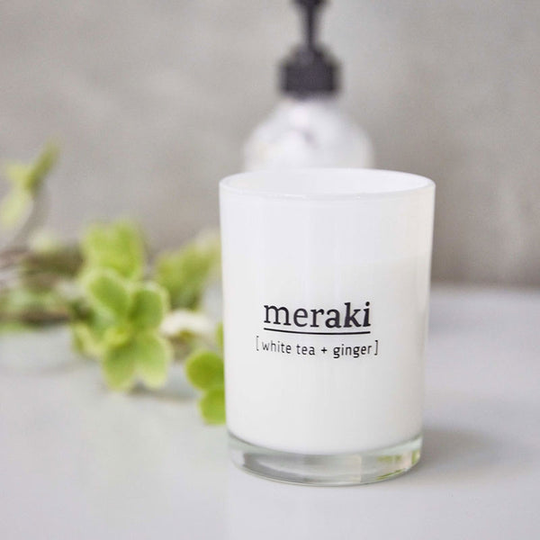 Meraki soy candle white tea & ginger