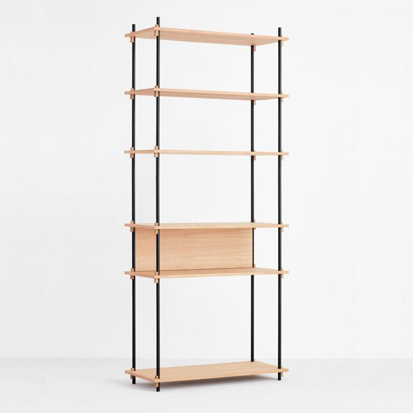 Moebe Shelving system oak black flexible