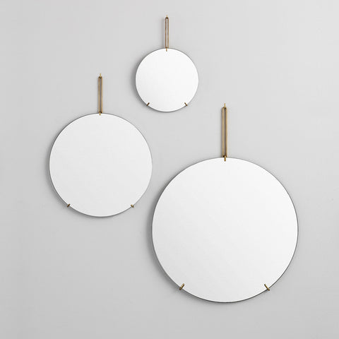 Scandinavian Moebe frameless wall mirror brass black chrome white