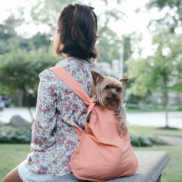 Notabag mini 2 in one tote and backpack in peach shown as backpack on a young girl with a dog in it