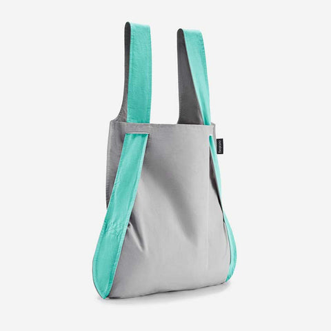 Notabag Mint & Grey 2 in one tote and backpack
