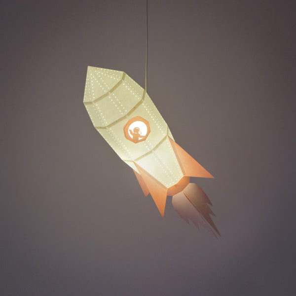 Rocket pendant lamp DIY kit from Owl Paperlamps