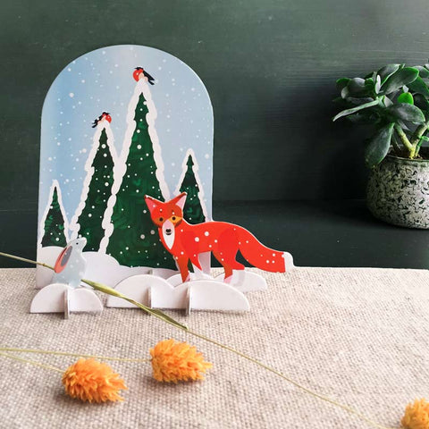 Studio Roof Wintertale Fox and Rabbit Pop-out Card