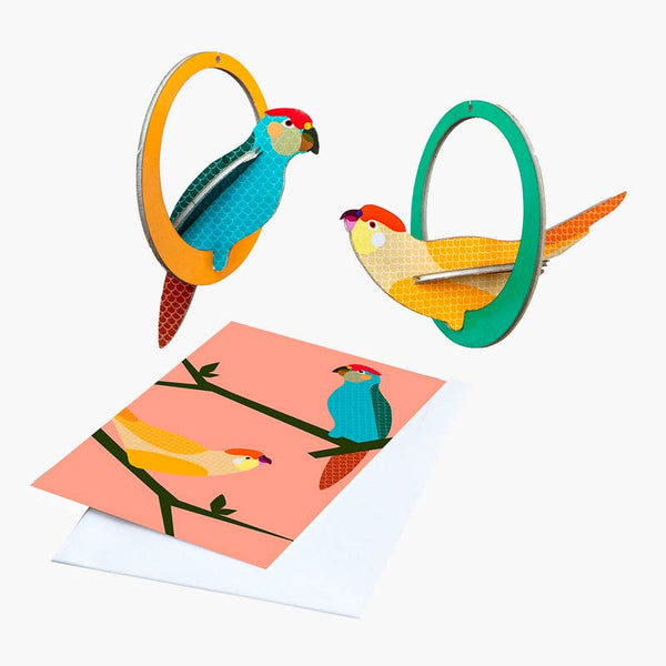Swinging Parakeets Pop-out Card