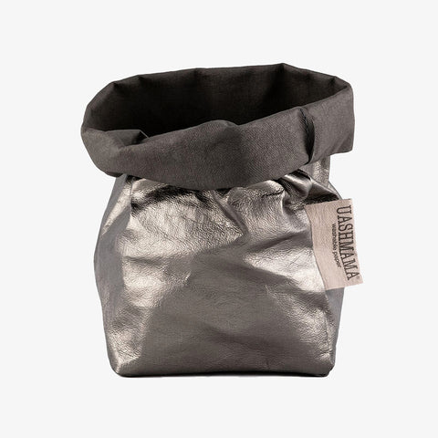 Uashmama washable paper bag dark grey metallic
