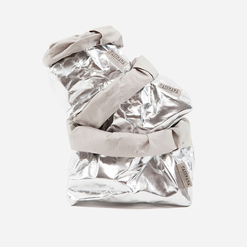 Uashmama washable paper bag silver  shown with small, medium and large