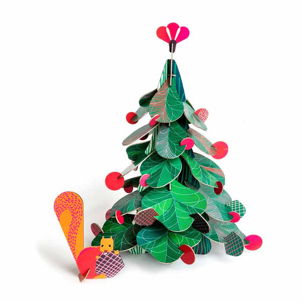 Studio Roof Christmas Tree cardboard table decoration with squirrel