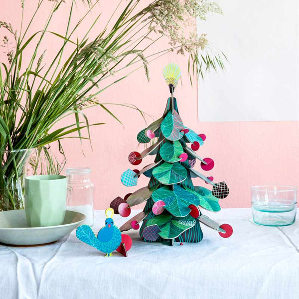 Studio Roof Christmas Tree cardboard table decoration with peacock