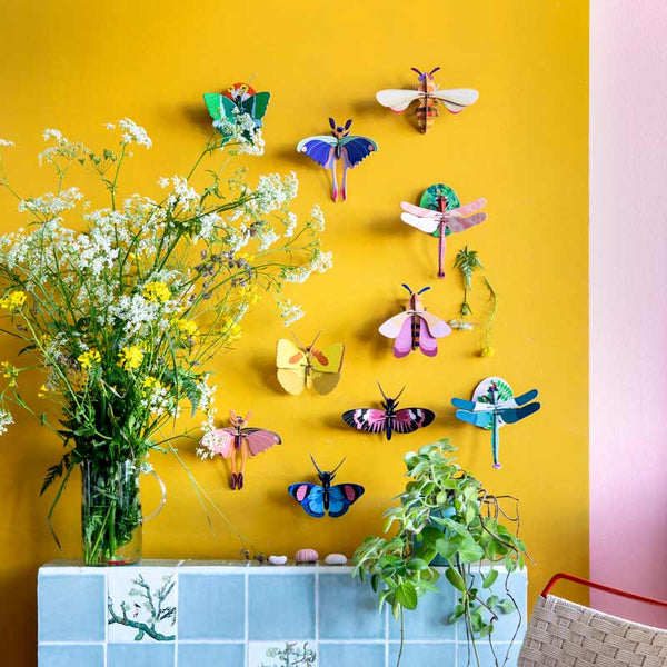 Studio Roof Pink Commet Butterfly Wall Decoration shown with other insect wall decorations