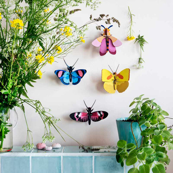 Studio Roof Longwing Butterfly Wall Decoration shown with other butterfly wall decorations