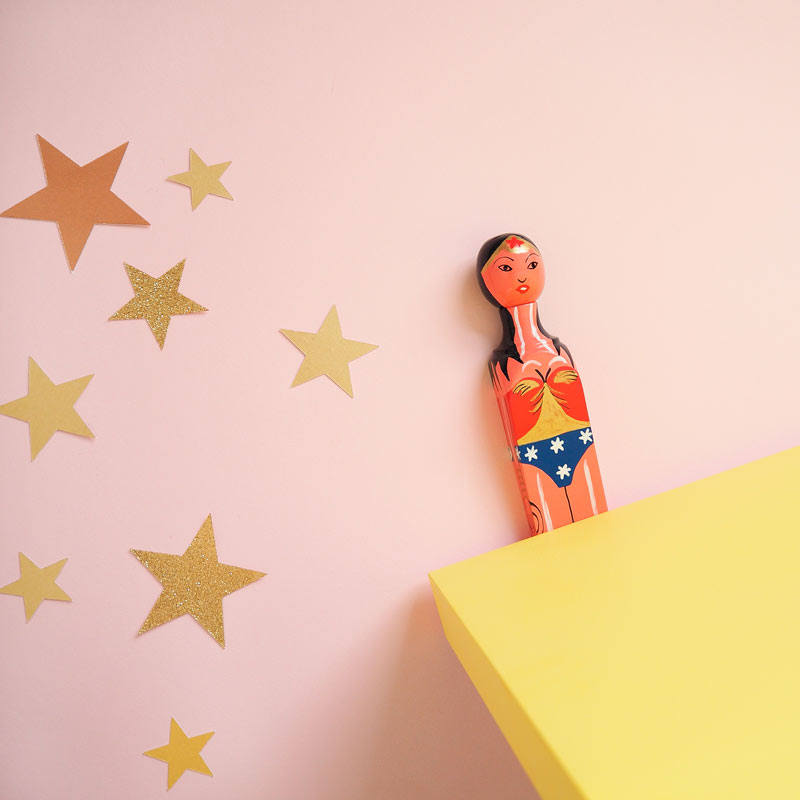 handpainted doorstop as wonderwoman