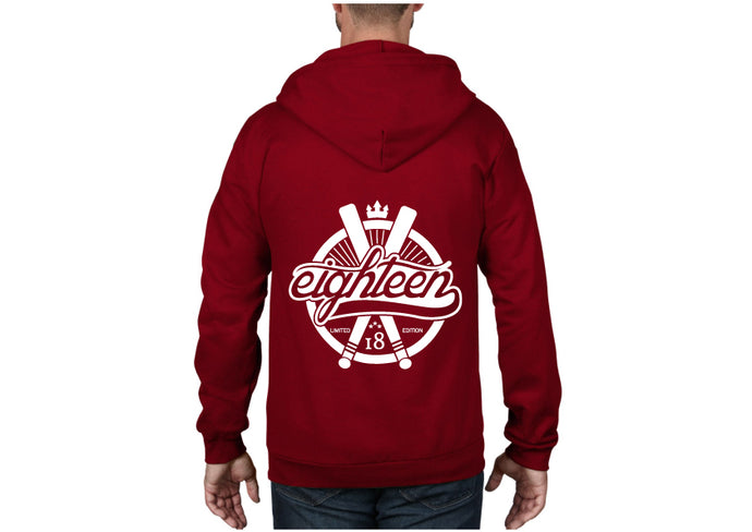 Sweat zippé Eighteen baseball rouge