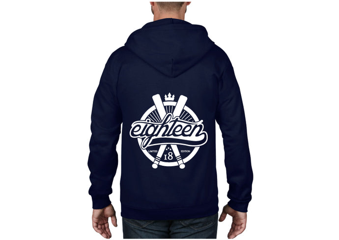 Sweat zippé Eighteen baseball bleu marine