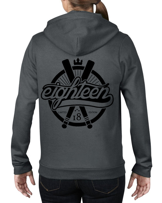 Sweat zippé Eighteen baseball gris foncé