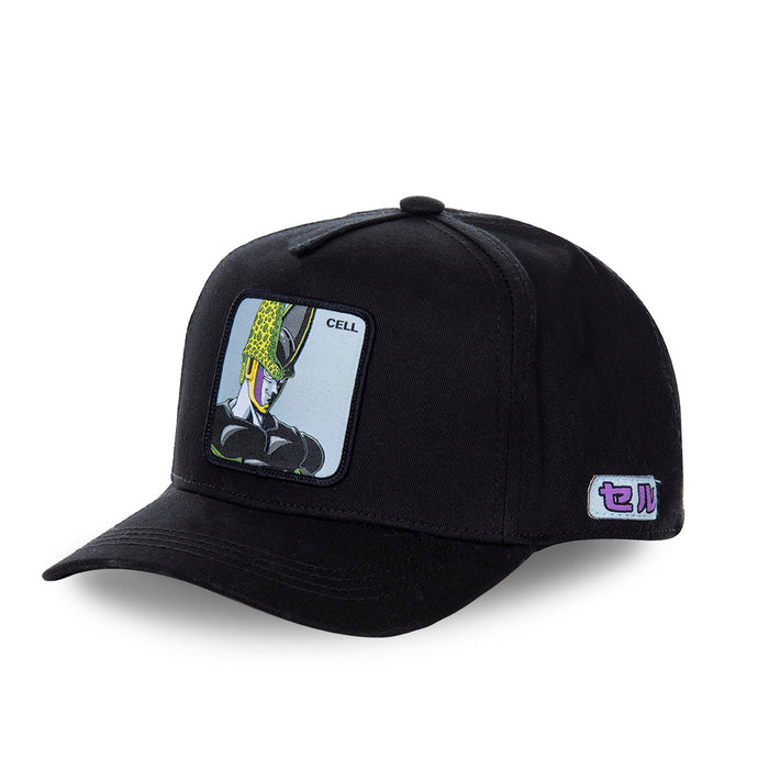 Casquette Dragon Ball Z distribuée par Eighteen Clothing 18 de couleur noire. Personnage DBZ Cell
