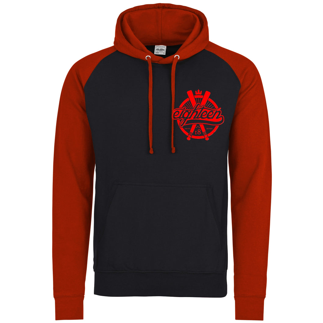 Sweat à capuche/Hoodies Eighteen noir et rouge batte de baseball eighteen 18