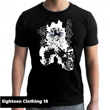 T-shirt Dragon Ball Z (DBZ) noir adulte - personnage Goku et Végéta Eighteen Clothing 18