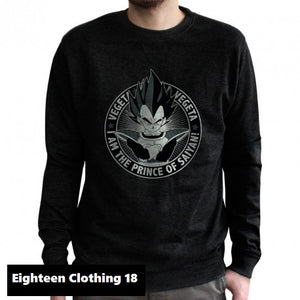 Sweat shirt Dragon Ball Z (DBZ) noir adulte - personnage Végéta distribué par Eighteen Clothing 18
