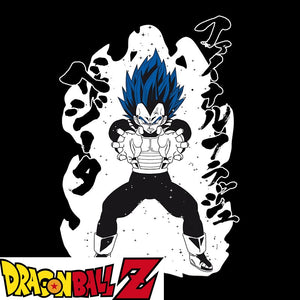 T-shirt Dragon Ball Z (DBZ) noir adulte - personnage Végéta Super Saiyan Blue eighteen 18