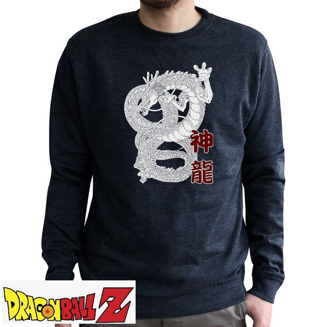Sweat shirt DBZ bleu chiné adulte - Personnage Shenron