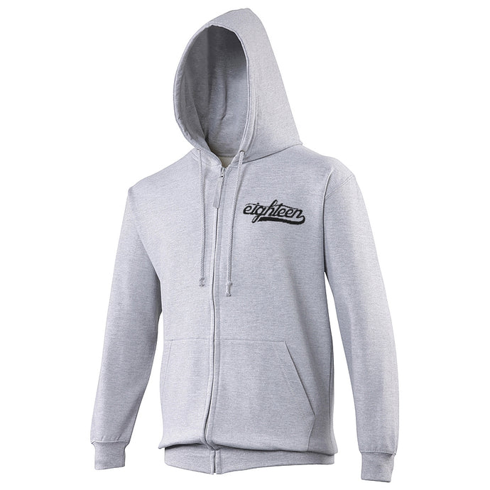 Sweat zippé à capuche Eighteen Clothing 18 gris chiné broderie noire