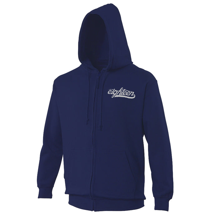 Sweat zippé à capuche Eighteen Clothing 18 bleu marine broderie grise