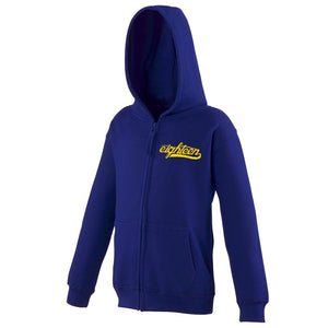 Sweat zippé à capuche enfant Eighteen Clothing 18 bleue marine broderie or