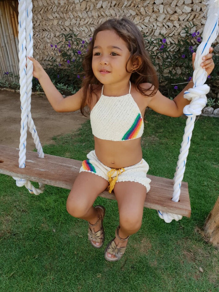 Rainbow retro shorts and crop set