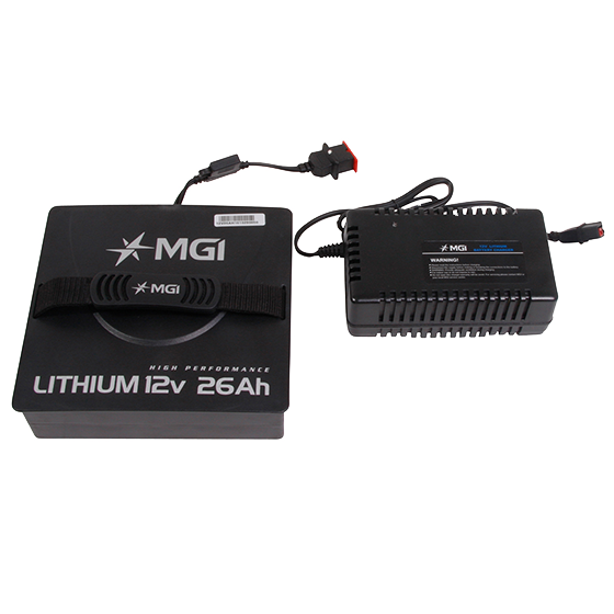 MGI Lithium 12v 26Ah Battery with complimentary charger
