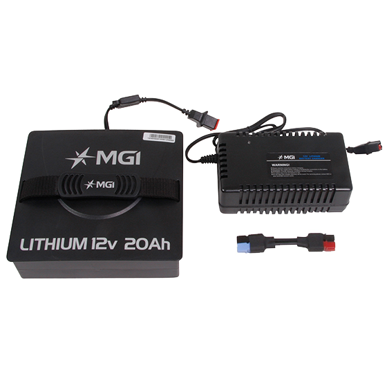 MGI Lithium 12v 20Ah Battery, Charger and Adaptor