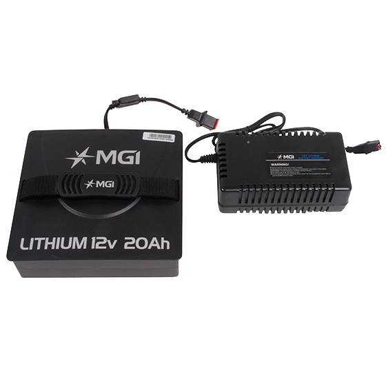 MGI Lithium 12v 20Ah Battery with complimentary charger