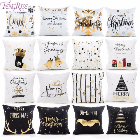 Cotton Linen Merry Christmas Cover Cushion Christmas Decor for Home Happy New Year