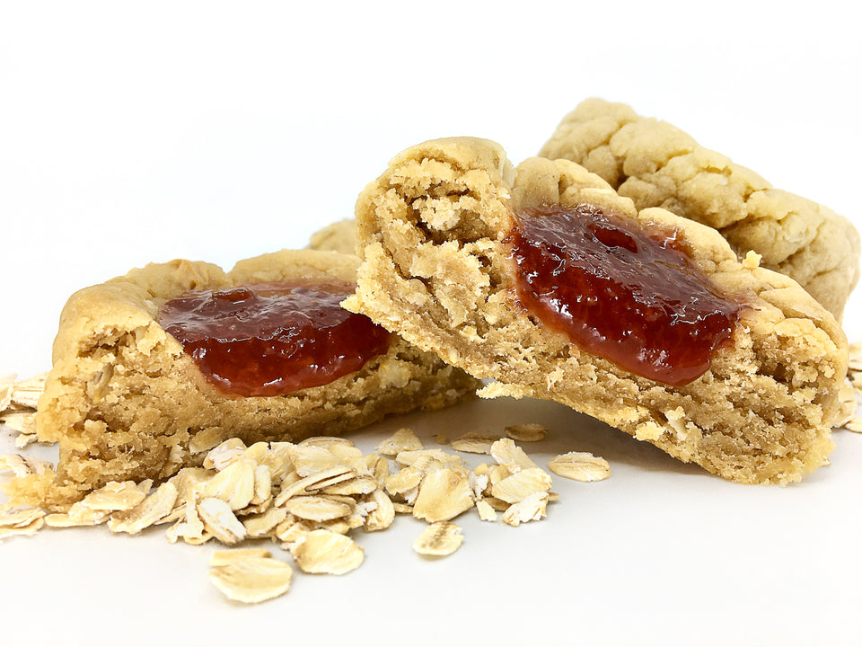 peanut butter and jelly vegan cookie