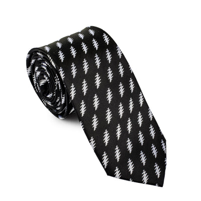 Grateful Dead Black All Over Bolt Tie (white) - Section 119