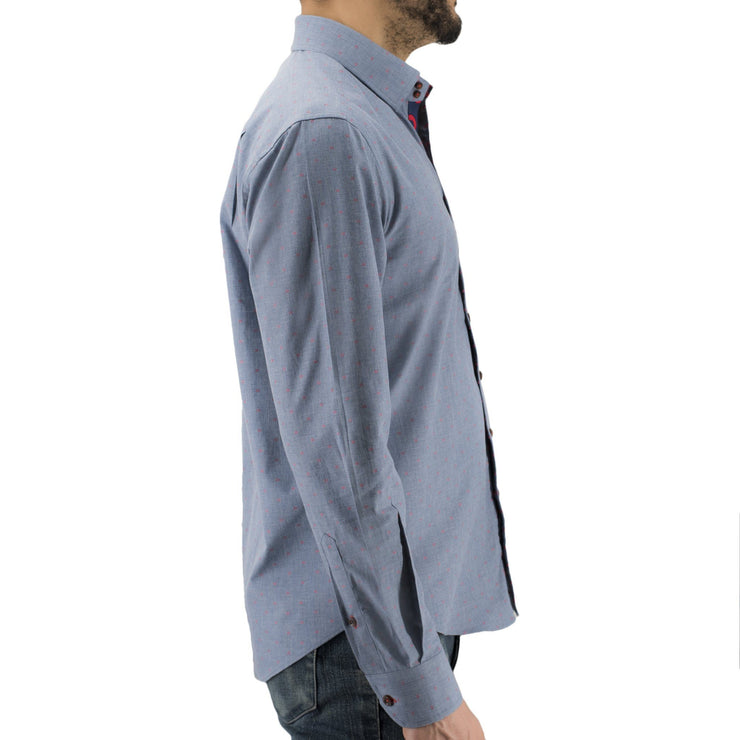 Blue Chambray Donut Hole Button-Down Shirt Section 119