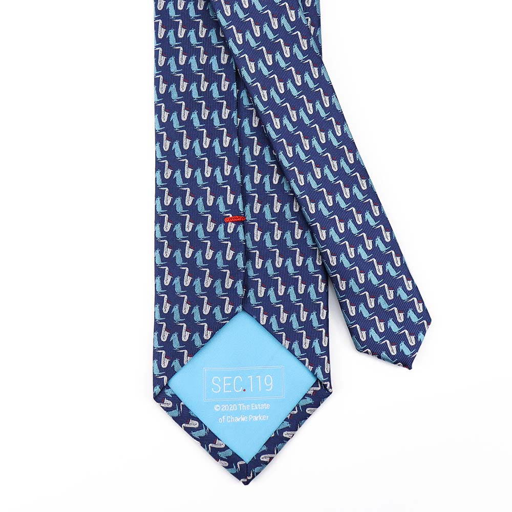 Blue Charlie Parker Bird Tie - Section 119