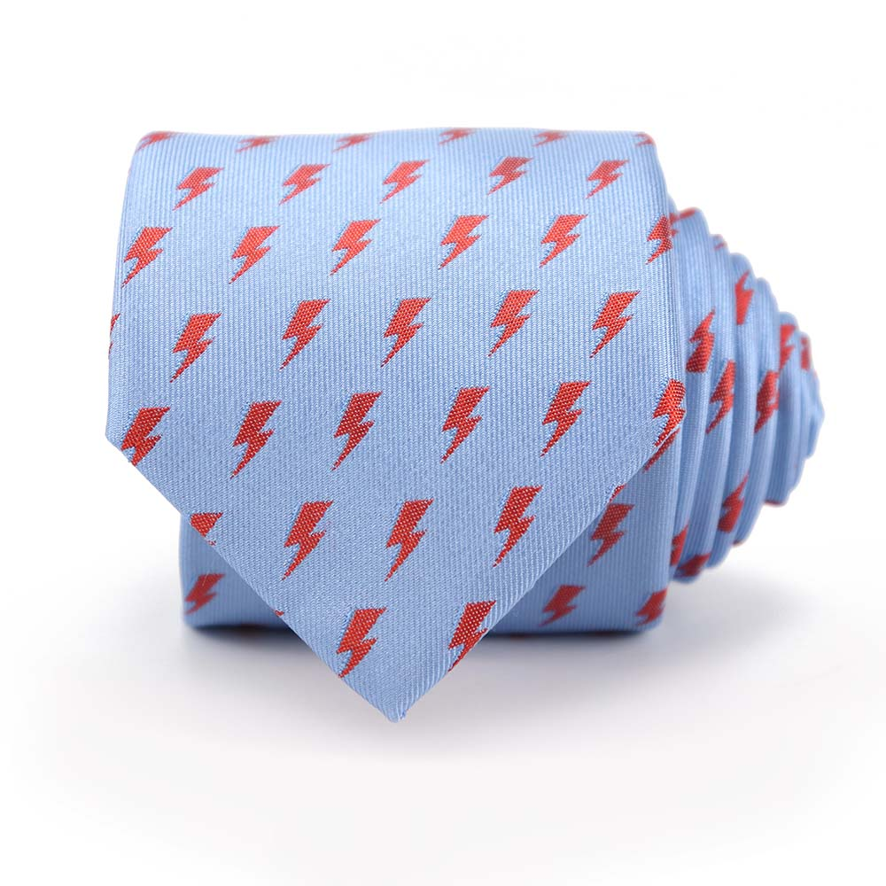 David Bowie Light Blue All Over Bolt Tie - Section 119