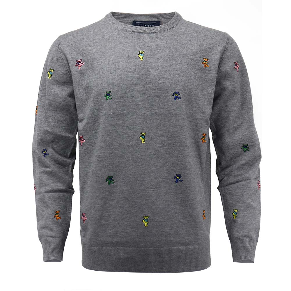 Grateful Dead Grey Multi-Colored Bear Sweater - Section 119