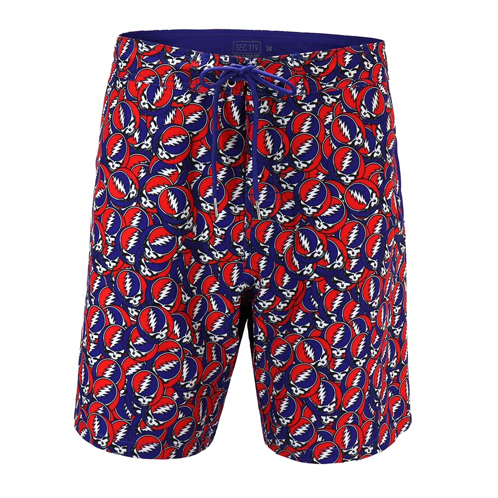 Grateful Dead All Over Steal Your Face Board Shorts - Section 119