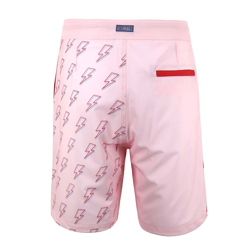 David Bowie Light Pink Bolt Board Shorts - Section 119
