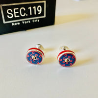 Funky Red and Blue Round Donut Cufflinks - Section 119