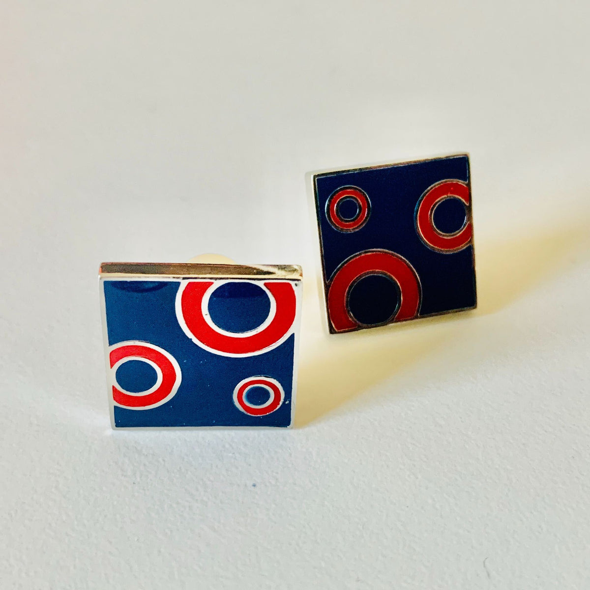 Funky Square Red and Blue Donut Cufflinks - Section 119