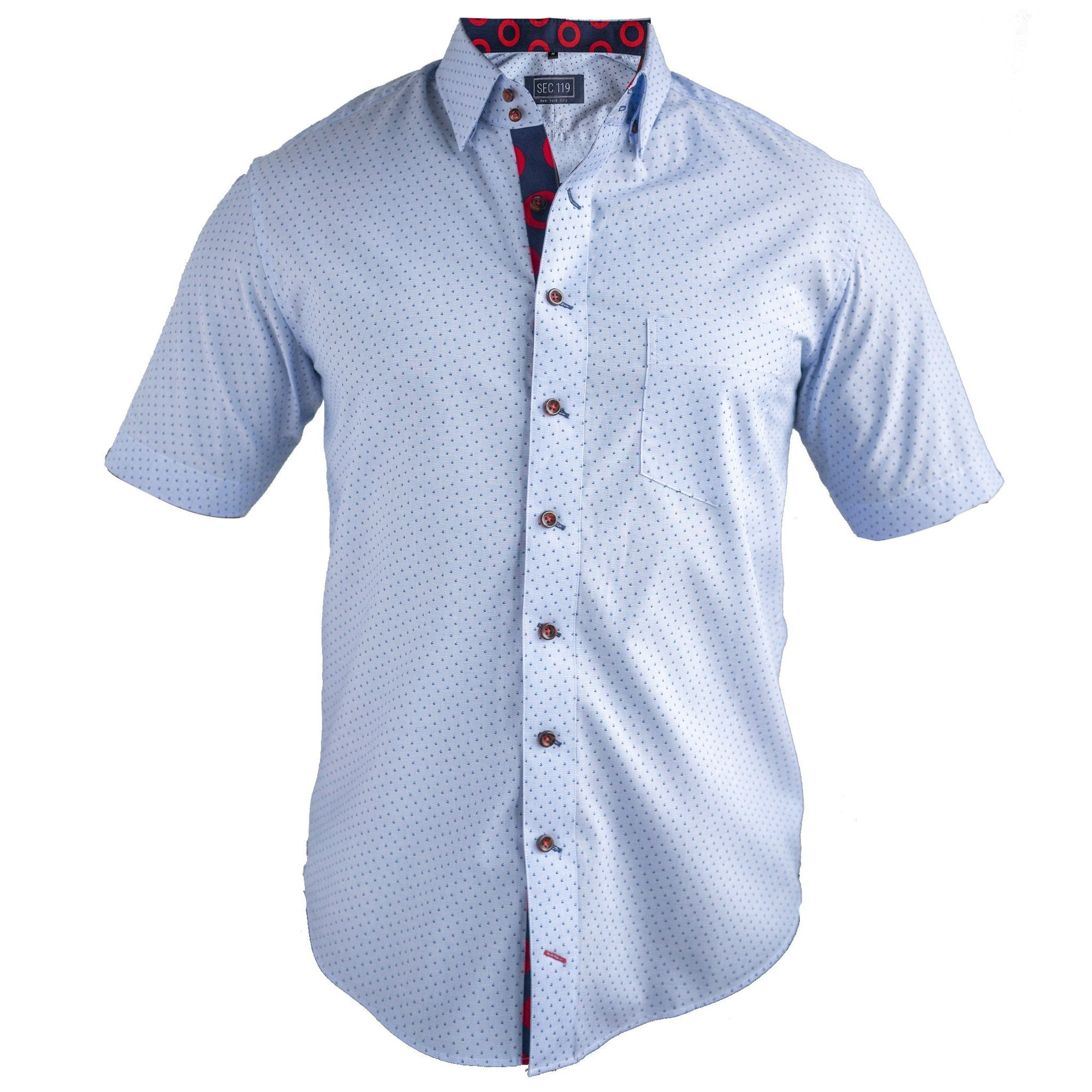 Blue Poplin Donut Short-Sleeve Shirt - Section 119