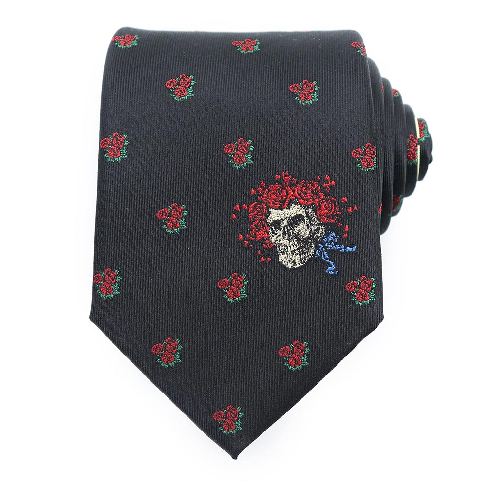 Black Grateful Dead Skull & Roses with Bertha Tie by Sec.119