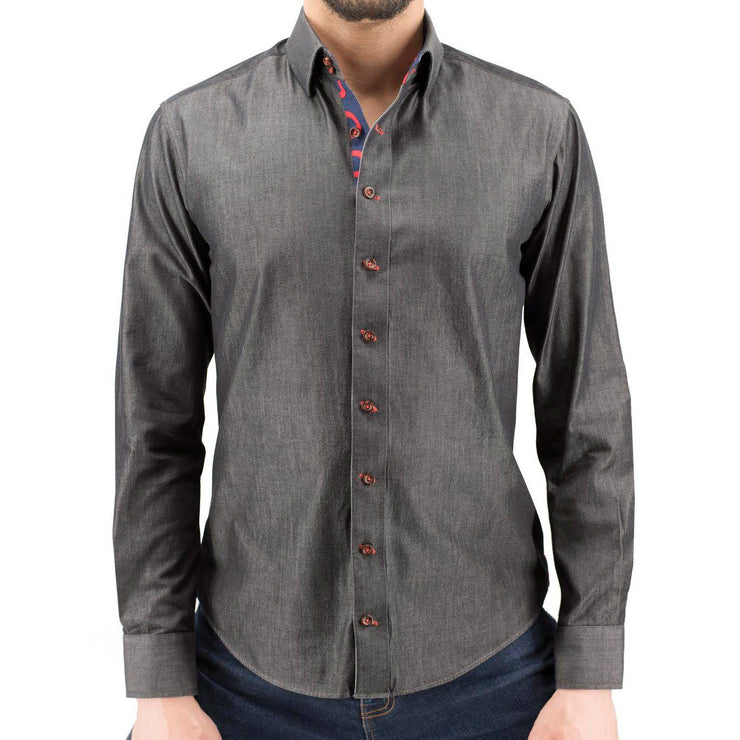 Charcoal Chambray Donut Button-Down