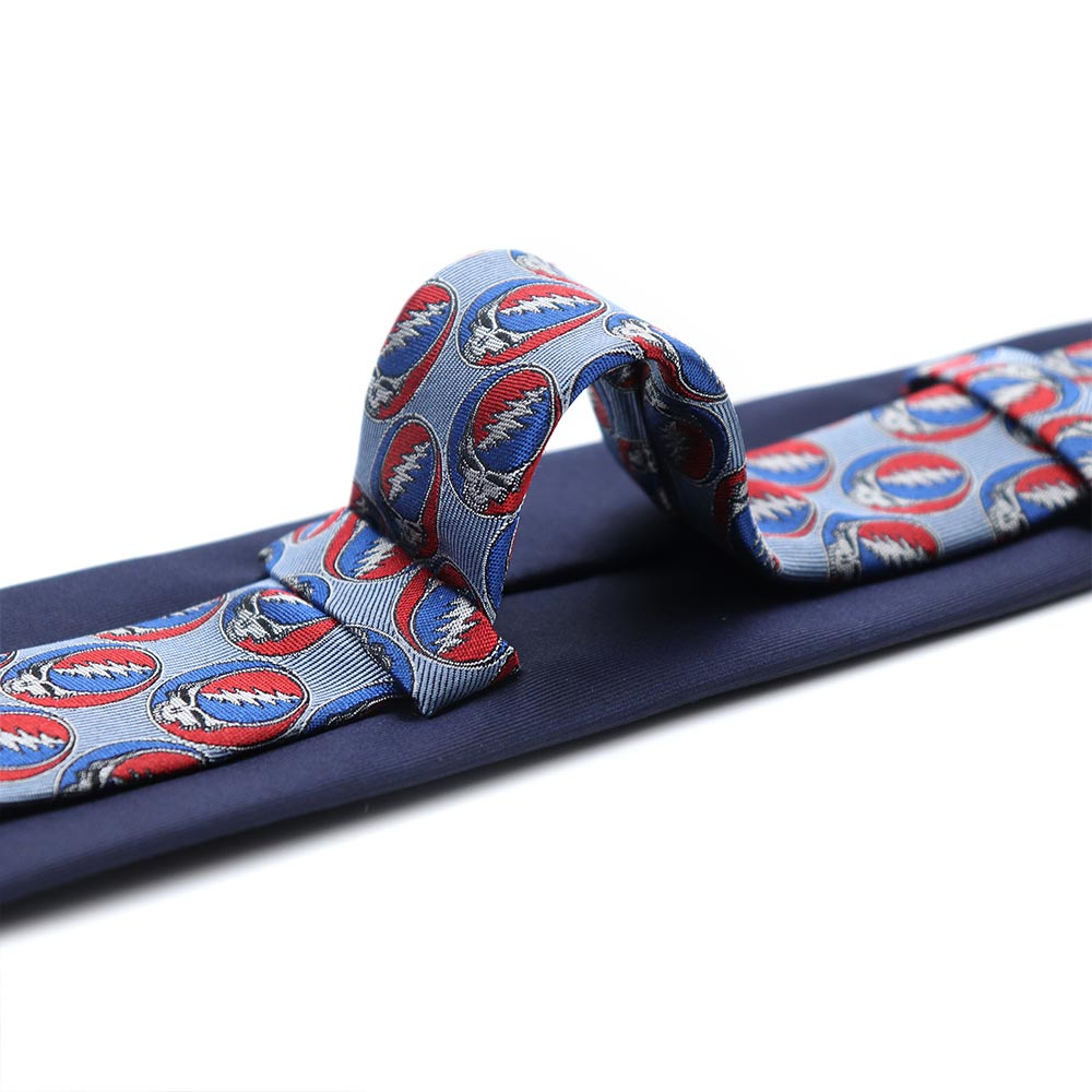Double Loop Navy Grateful Dead Steal Your Face Tie by Section 119