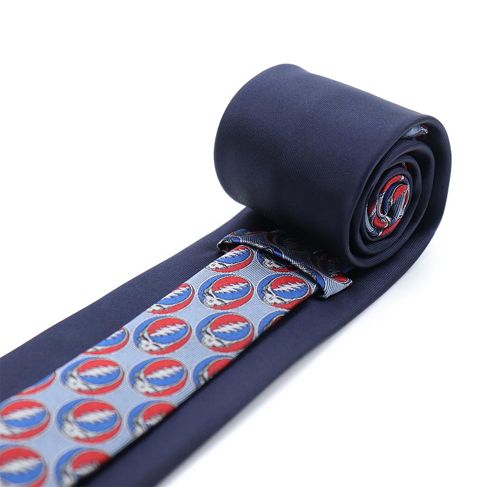 Back of Navy Grateful Dead Steal Your Face Tie by Section 119